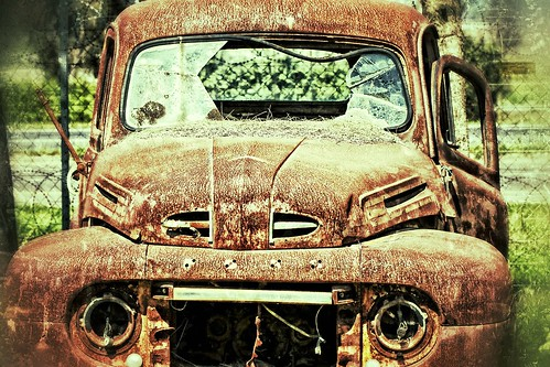 ford truck in rust & pine needles