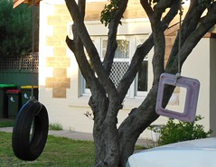 Improvised Swing (mikecogh) Tags: play rope swing recreation frontyard improvised tyre lid repurposing