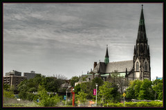 St Joseph's Detroit - View From Gratiot (ScottElliottSmithson) Tags: urban st mi canon scott downtown michigan detroit highcontrast stjosephs catholicchurch canoneos hdr saintjoseph josephs urbanlandscape smithson detroitmetro downtowndetroit gratiot saintjosephs stjosephschurch americanneogothic stjosephsparish eos7d ruingazing dtwpuck scottsmithson churchesofdetroit scottelliottsmithson stjosephsdetroit citythatusedtobe