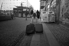 Travelling Girl, pt.1 (fonzi74/gbCrates) Tags: street bw white black blackwhite candid gb revolutionary sh sort christensen emil crates chr hvid fotografi frederik gade sorthvid revolutionr hyer gadefotografi fonzi74 gbcrates hyerchr