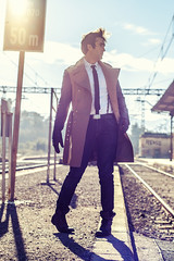 Fashion (a peaceful warrior) Tags: male station fashion train person signal