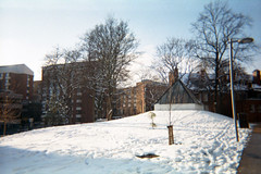 Snowy Day on Campus (Saturated Imagery) Tags: winter snow film 35mm campus iso200 toycamera leeds universityofleeds colournegative plasticlens c41 agfavista200 pointandclick vivitart201
