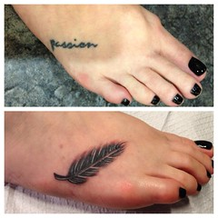 feather coverup tattoo by wes fortier
