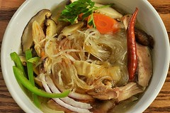 Mmm... chicken noodle soup (jeffreyw) Tags: chicken mushrooms carrots chilies redpeppers cellophanenoodles mungbeannoodles