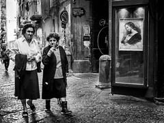 medea (MarioMancuso) Tags: life road street city people urban blackandwhite bw woman dog white black window shop photography mono photo women shot walk candid picture streetphotography documentary olympus scene 17 streetphoto 18 omd reportage monocrome 17mm 2013
