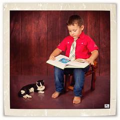 (MissSmile) Tags: friends boy portrait cat studio reading book kid funny child framed memories creative misssmile