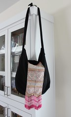 Sling bag with Hmong fabric remnant (Entropy Always Wins) Tags: bag handmade embroidery fabric hmong