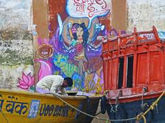 Varanasi street art (jonhuskisson) Tags: travel india streetart art river boats graffiti boat asia holy backpacking sacred varanasi hindu hinduism ganges riverganges
