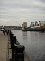 DSC09277 (Kate Hedin) Tags: city uk bridge england river newcastle grey lights boat town wire ship arch cyclist power pneumatic suspension united arc pass kingdom pedestrian cable center baltic swing sage tyne millennium gateshead earl tilt upon rotate