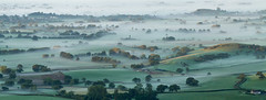 Misty Morning (Mukumbura) Tags: uk morning autumn trees light england panorama mist beauty fog sunrise landscape outdoors dawn countryside october scenery somerset hills tranquil gettyimages priddy somersetlevels peacefulscene mendiphills deerleap welcomeuk