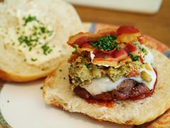 Beef Burger (Viv Lynch) Tags: food cooking cheese bacon beef burger meat homemade hamburger chives