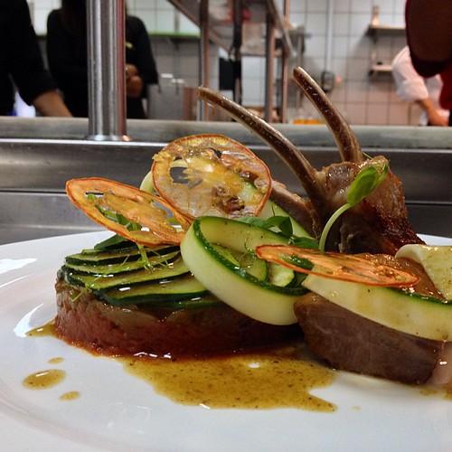 "Lamb Canon, Green & Yellow Courgettes ""au gratin"" #plazaathenee #spaghettini"