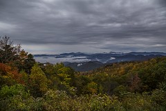 Blue Ridge parkway (Poole-shooter Cindi) Tags: fallleaves mountains fog canon nc asheville earlymorning foggymorning