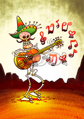 Mexican Skeleton Playing Guitar (Zoo&co - The Drawing Lounge) Tags: party music holiday halloween hat smiling festival illustration walking mexico skeleton skull design artwork colorful comic pattern fiesta vectorart drawing folk teeth fear digitalart humor cartoon decoration culture folklore swing celebration mexican step clipart horror grinning caricature mariachi bone hispanic sombrero tradition mustache legend guitarist rhythm serenade playingguitar