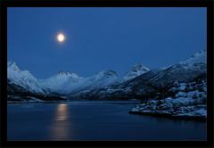 At Kleppstad, Lofoten Islands, Norway. (Elin Jakobsen) Tags: winter seascape mountains norway norge fullmoon moonlight fjord lofoten lofotenislands