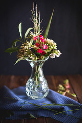 Still Life Bouquet Vase (ljology) Tags: flowers light stilllife home window grass leaves painting natural timber curtain petal vase bouquet chiaroscuro ljology