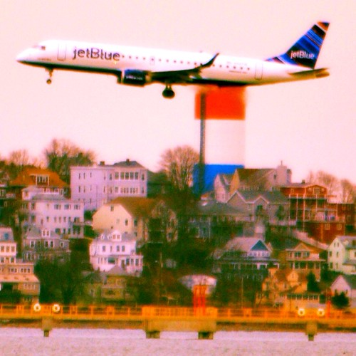 JetBlue plane landing in Boston