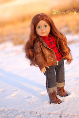 You've waited long enough (Lady Alec) Tags: winter sunset snow shirt pond doll amy jacket amelia americangirldoll
