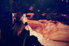 Alva (obulutphotography) Tags: street blue winter light red portrait white snow cold girl fashion night vintage dark bokeh outdoor snowy retro beam raining