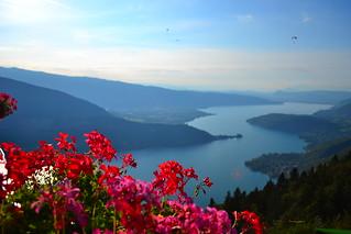 Vue sur le lac d'Annecy  - vue du col de la Forclaz