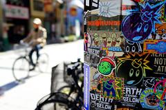 Stickers () Tags: japan 35mm stickers streetphotography bikes   osaka fullframe  shinsekai  naniwaku rx1 sonyrx1 sonydscrx1 sonycybershotrx1