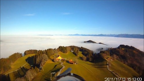 View over St. Anton from a radio controlled plane, Oberegg, Switzerland