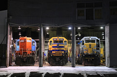 The happy GLLX family. (GLC 392) Tags: gllx great lakes locomotive leasing emd sd402 3001 3002 gp9 4433 grand trunk western marquette rail employee owned shops roundhouse round house snow winter winters night time photograph railroad railway train manistee mi michigan mqt