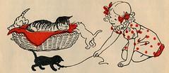Nans van Leeuwen - 3 kleine poesjes en een dikke man 1948, ill pg 4 (janwillemsen) Tags: nansvanleeuwen bookillustration cats 1948