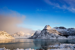 There's nothing but blue sky (OR_U) Tags: 2017 oru norway lofoten flakstadpollen fjord mountains landscape seascape snow ice winter jamiroquai sunset