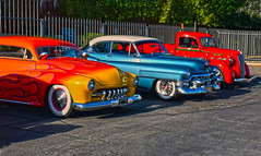 CandyLand (oybay©) Tags: color colors colorful car cars automobile automobiles classiccar classiccars flames flamin merc mercury yellow orange red cadillac blue white twotone ford fordtruck serendipity sandersonlincoln carshow phoenix arizona sun sunglow shine shining colour