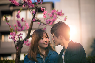 Young couple looking at each other under plum tree