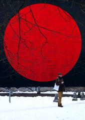 Hinomaru - Polish Edition (jolanta mazur) Tags: circle red black white colour snow winter wall branches tree poland japan flag sun circleofthesun hinomaru sakura minimalistic minimalism geometry geometricshapes candid unposed street streetphotography