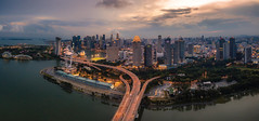 Sunset on Good Friday (maison_2710) Tags: sky city sunset sun buildings clouds urban architecture cityscape building aerial singapore skyline marina bay sands