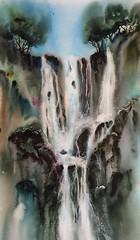 Voyage de l'eau (carine hubeaux) Tags: chutes cascades eau aquarelle