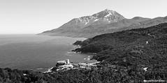 Sunny day@Mt Athos (and641) Tags: olympuspen epm2 sigmaart sigma prime greece monastery pantokratoros bw blackandwhite monochrome landscape sea sky mountain snow stavronikita mountathos agiooros