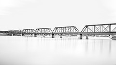 Bridge to Nowhere (tonyjmandarich) Tags: 500px sky landscape lake water reflection river travel light architecture bridge black white monochrome shadows bnw long exposure steel smooth silk filter popular nd bw best