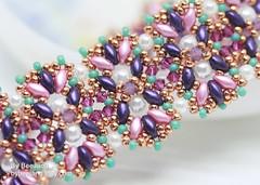 Aulea Bracelet (BeeJang - Piratchada) Tags: beadweaving beading beadwork superduo bracelet tutorial pattern miyuki swarovski crystal pearl jewelry handmade pink purple