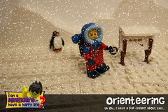 Orienteering (EVWEB) Tags: lego minifigure ice iceberg artic cold penguin sign advertise map orienteering compass