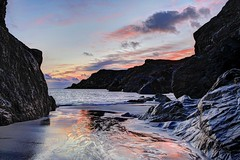 The coal hits the fire (pauldunn52) Tags: kynance cove lizard cornwall sunset wet sand reflections pink sky cliffs