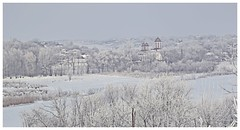 Winter rural scene- frozen day (fdlscrmn) Tags: day winter snow rural tree hills sky houses building nature