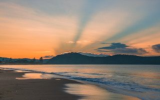 Sunrise Seascape with Blue Sun Beams