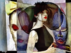 red lips (skizo39) Tags: mascara red lips woman hat mask collage layers art digitalprocessing digitalart digitalpainting photomanipulation colors colorful graphical design creation artistic