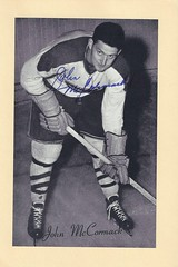 "1944-63 NHL Beehive Hockey Photo / Group II - JOHNNY ""JOHN"" McCORMACK (Centre) (b. 2 Aug 1925 - d. 22 Feb 2017 at age 91) - Autographed Hockey Card (Montreal Canadiens) (#269) (Baseball Autographs Football Coins) Tags: hockey beehive 1934 1967 19341967 groupi groupii groupiii woodgrain torontomapleleafs bostonbruins newyorkrangers montrealcanadiens chicagoblackhawks detroitredwings montrealmaroons newyorkamericans card photos hockeycards brooklynamericans nationalhockeyleague nhl johnmccormack johnnymccormack centre"