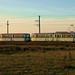 Die letzten Sonnenstrahlen beleuchten den ehemaligen OEG-Düwag 303/313 auf der Fahrt von Sâmbăteni nach Ghioroc