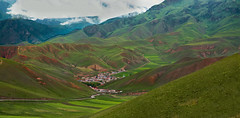 Veil of Spring Over QiLien Mountain (1) 祈連春紗 (Journey CPL) Tags: 祁連山 祁連 qilien qinghai china remote village asia ranch ranching grassland green rolling hill roll spring travel exotic sheer color landscape mountain prestine scenery road off