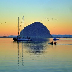Morro Rock (Kay Weber) Tags: morrorock rock sunset bay boats water horizon afterglow color