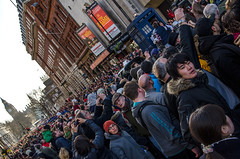 Drowning (LynxDaemon) Tags: london people foule crowd doctorwho parade newyear bigben blue tilted diagonal falling