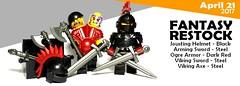 Apr 2017 - Fantasy Restock (BrickWarriors - Ryan) Tags: brickwarriors custom lego minifigure weapons helmets armor fantasy sword arming viking axe ogre jousting knight goblin hero castle medieval