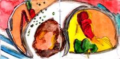 ein vier Gänge Menü vom Feinsten und zu allem gab es immer Knödel (raumoberbayern) Tags: station bahnhof sketchbook skizzenbuch tram munich bus strasenbahn pencil bleistift ballpoint paper papier robbbilder stadt city landschaft landscape spring frühling summer sommer trip germany münchen biergarten knödel food lebensmittel essen menü