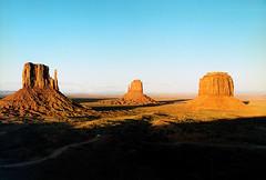 Monument Valley, 3 Mesas (Bill in DC) Tags: ut utah monumentvalleynationalpark film kodacolor canon eosa2 smp6 1996